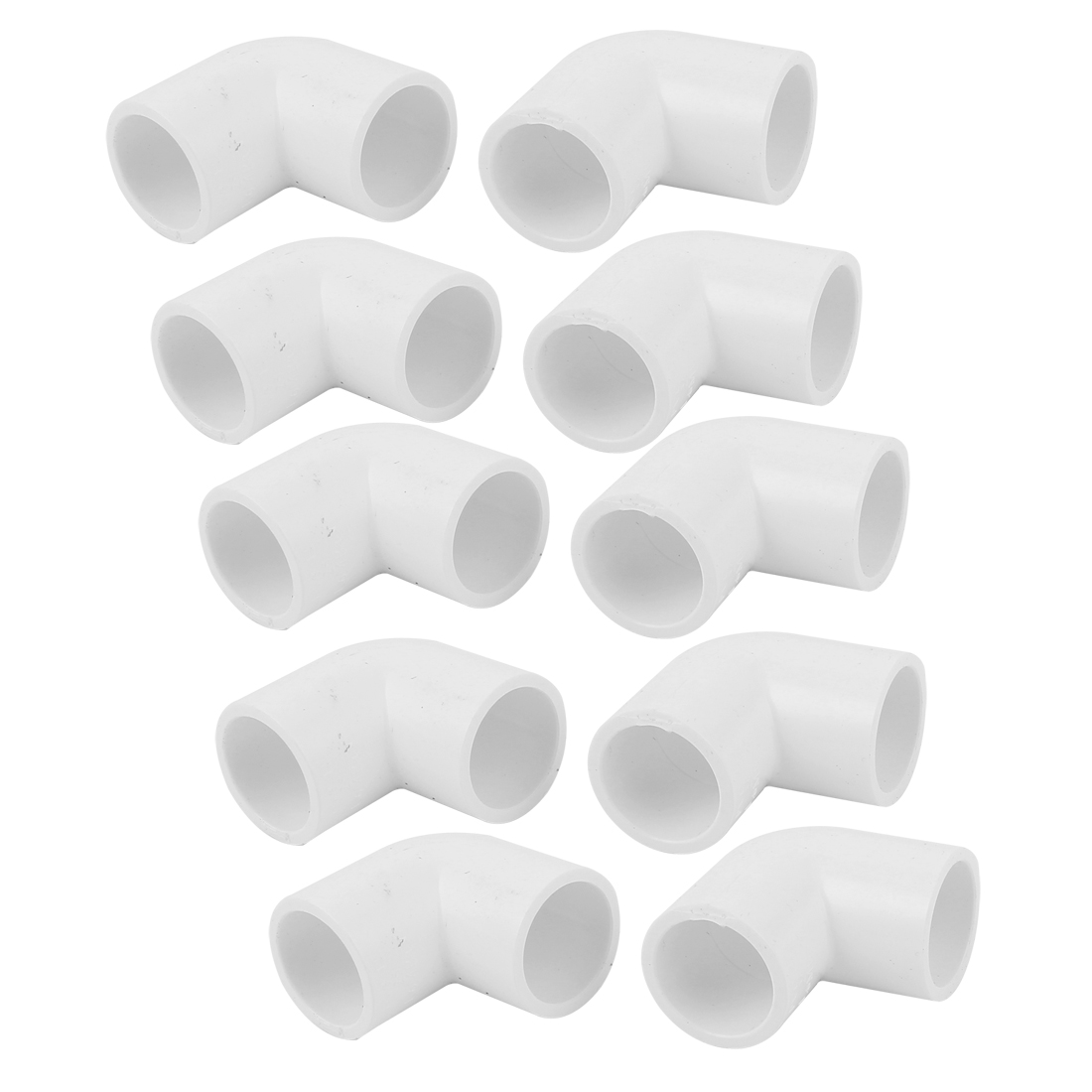 25mm Inner Dia 90 Degree 2 Way Water Liquid PVC Elbow Pipe Fitting White 10pcs