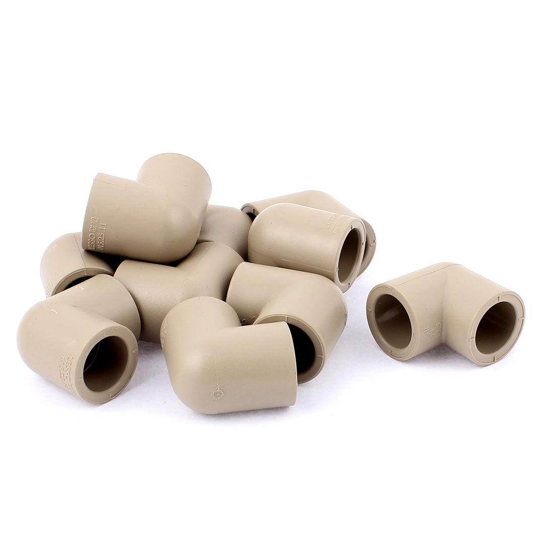 25mm Inner Dia 90 Degree 2 Way Water Liquid PPR Elbow Pipe Fitting Grey 10pcs