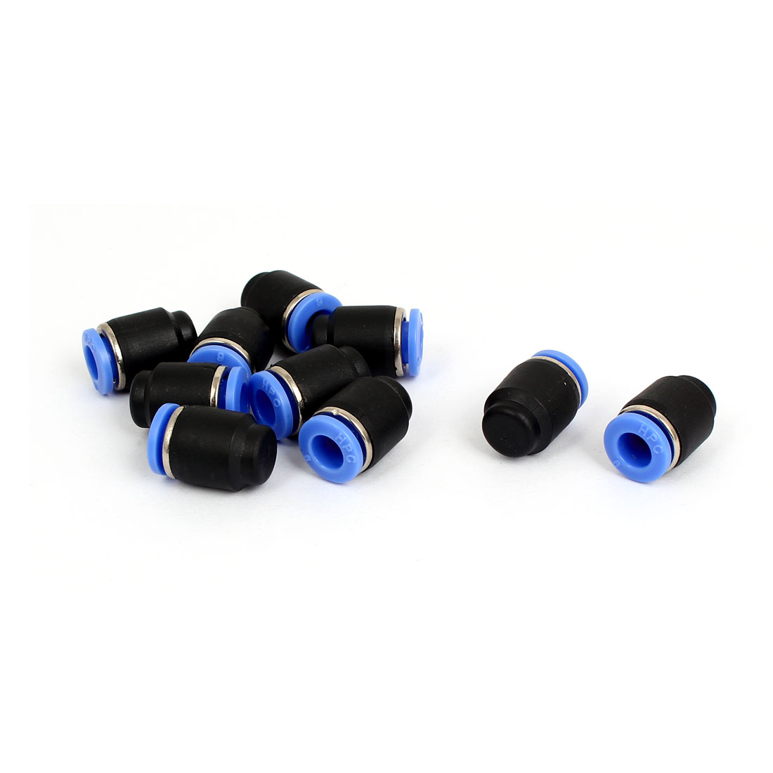 6mm Dia 1 Way Push in to Connect Tubing Plastic Quick Cap Plug Fitting 10pcs