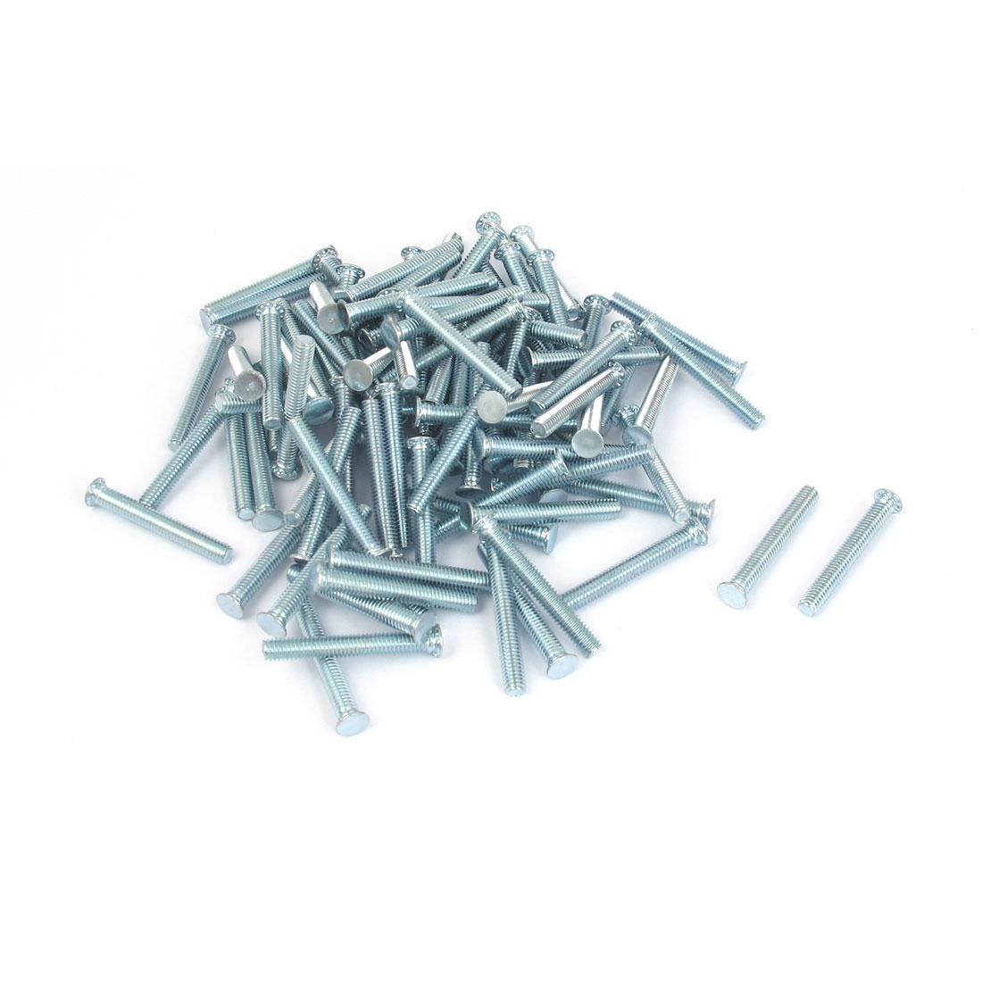 M4x30mm Zinc Plated Flush Head Self Clinching Threaded Studs Fastener 100pcs