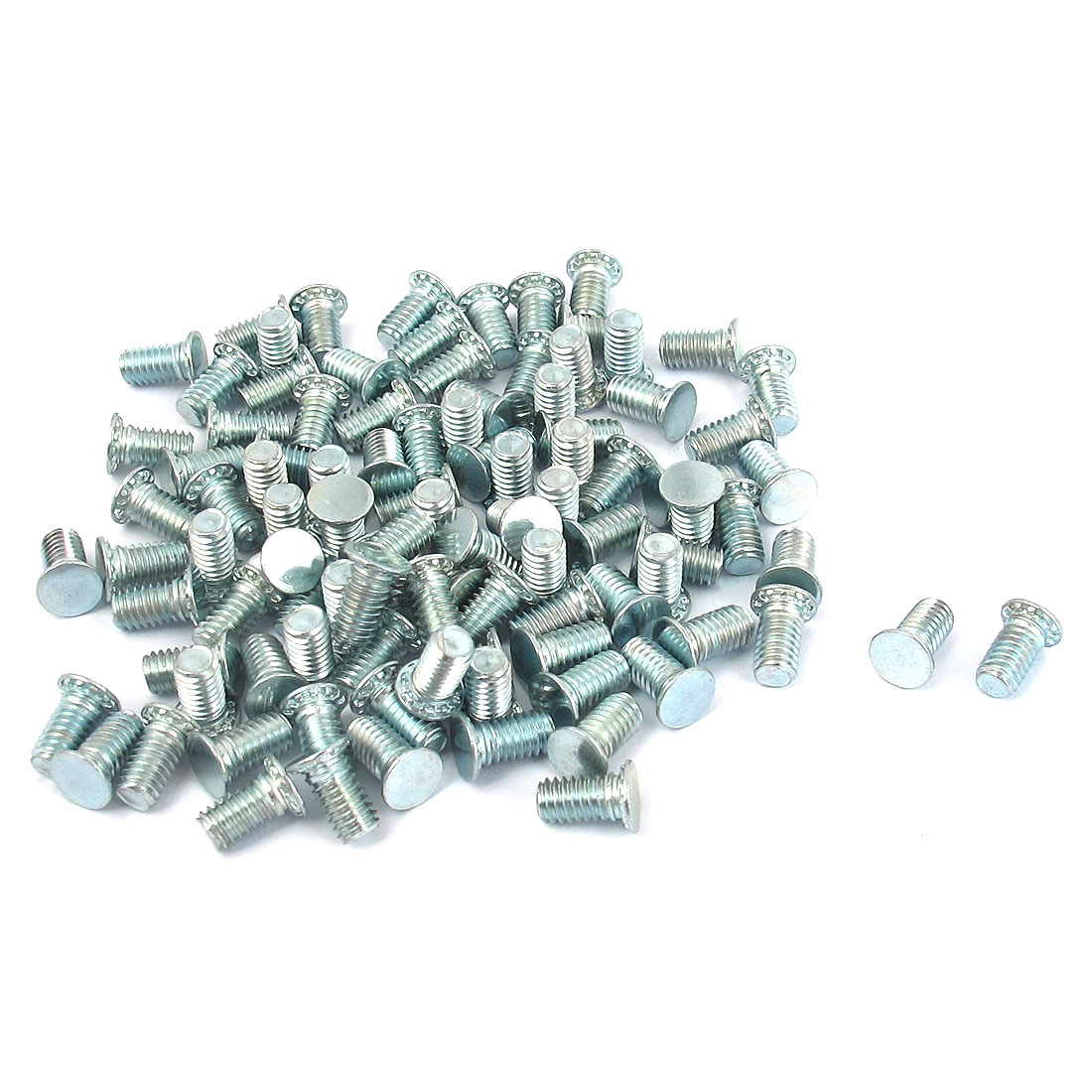 M4x8mm Zinc Plated Flush Head Self Clinching Threaded Studs Fastener 100pcs
