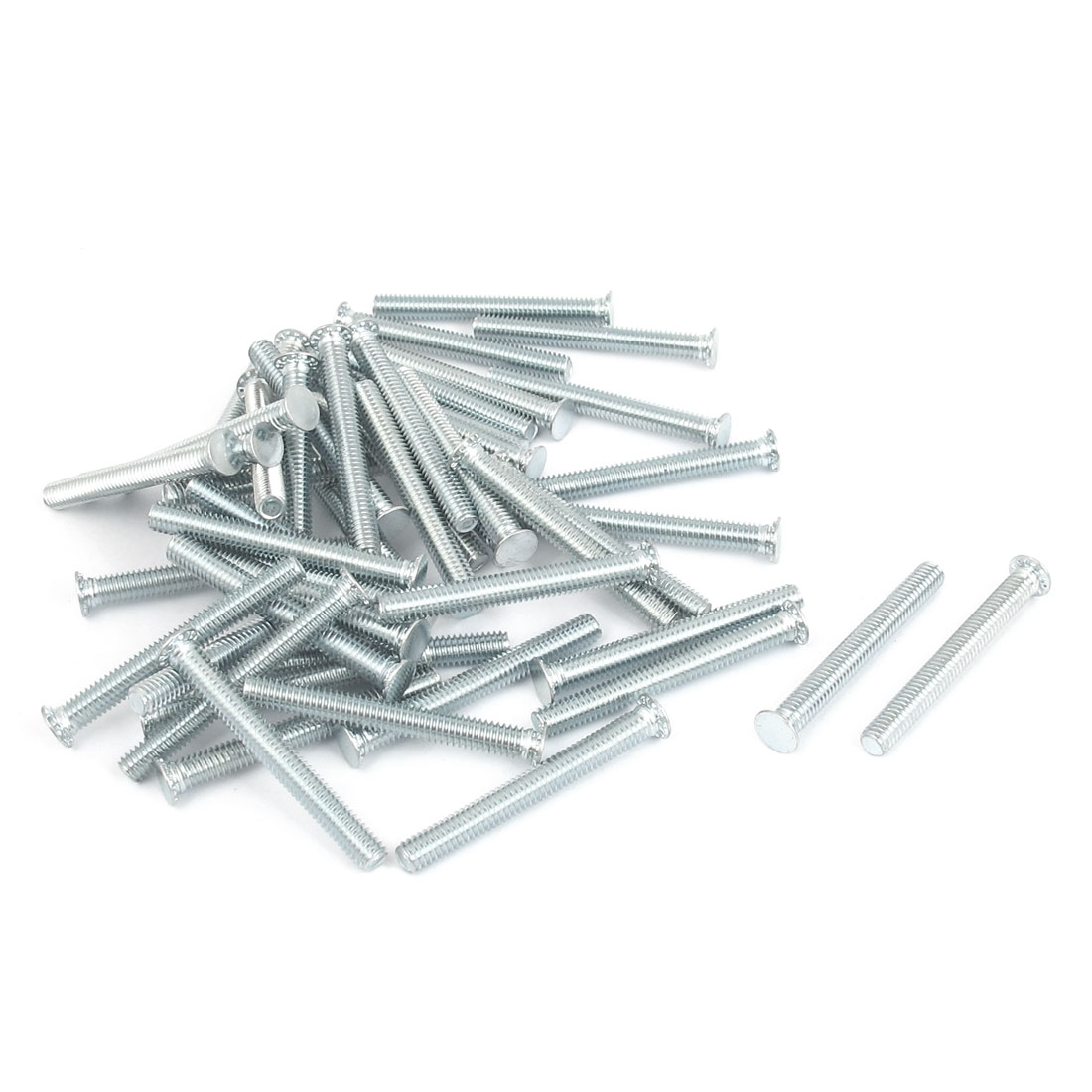 M4x35mm Zinc Plated Flush Head Self Clinching Threaded Studs Fastener 50pcs