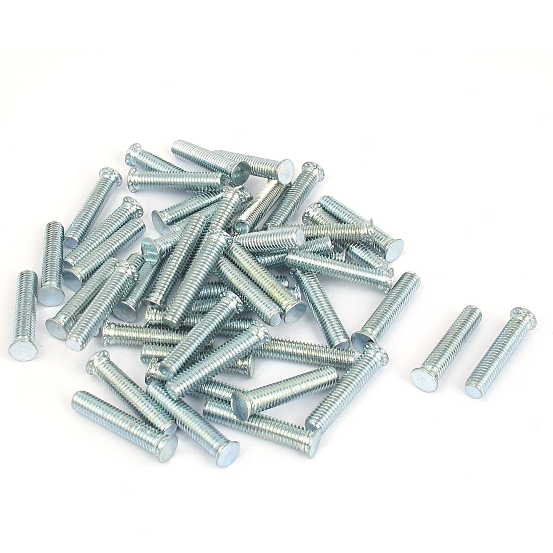 M5x25mm Zinc Plated Flush Head Self Clinching Threaded Studs Fastener 50pcs