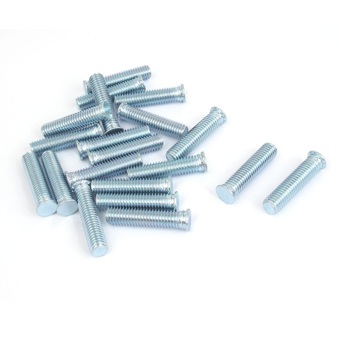 M8x35mm Zinc Plated Flush Head Self Clinching Threaded Studs Fastener 20pcs