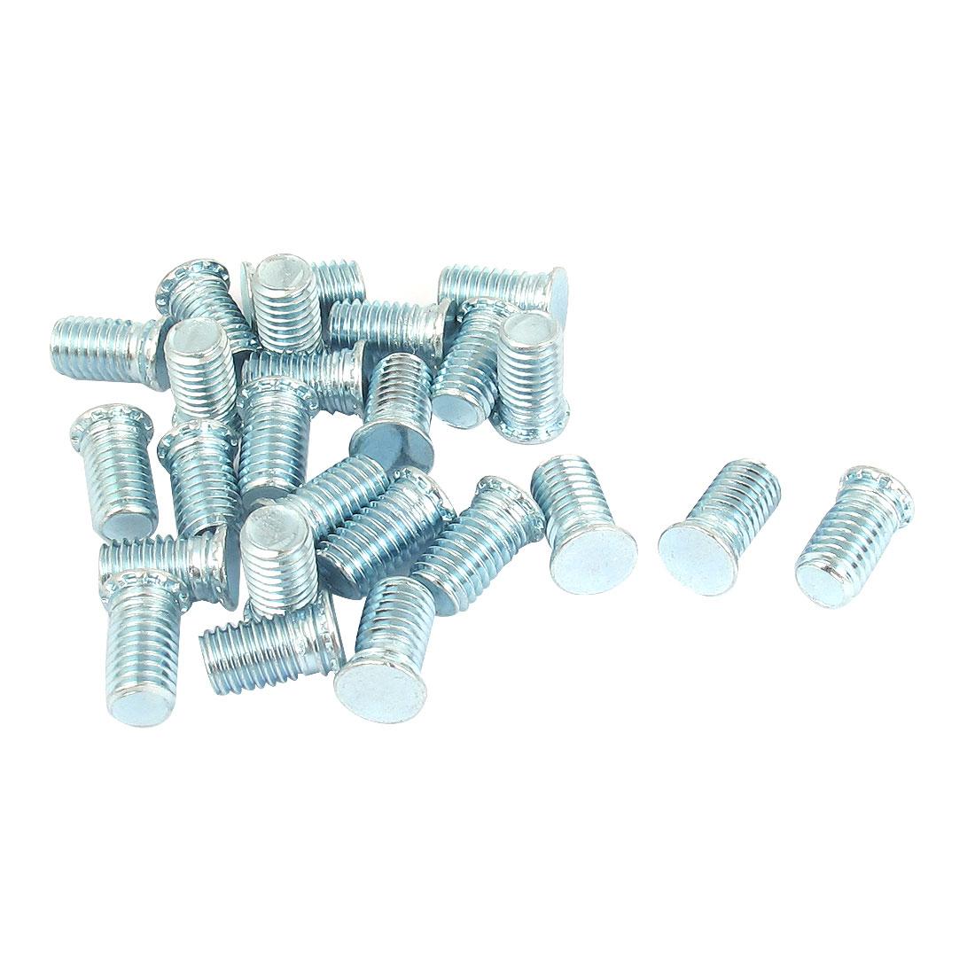 M8x15mm Zinc Plated Flush Head Self Clinching Threaded Studs Fastener 25pcs