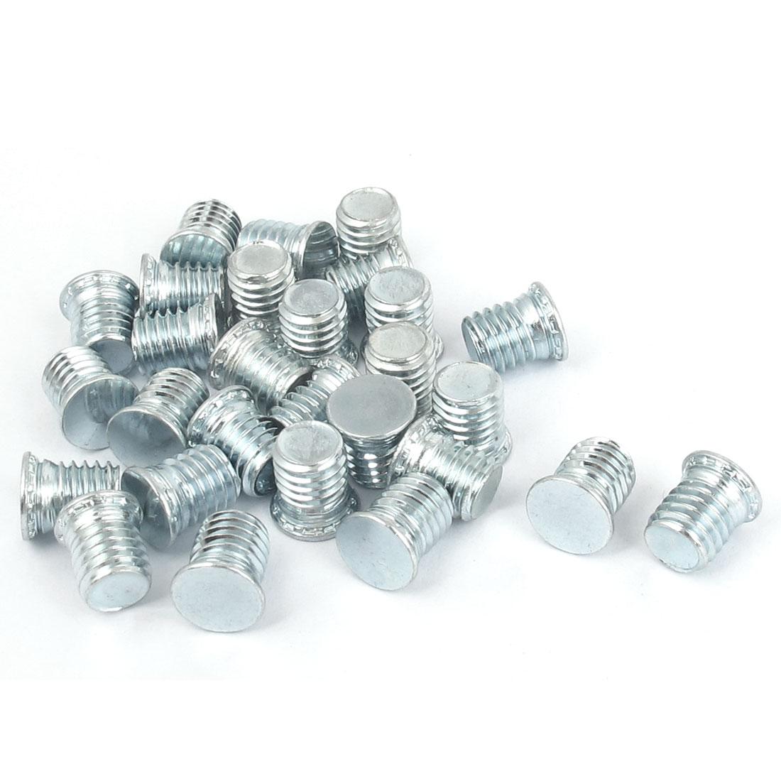 M8x10mm Zinc Plated Flush Head Self Clinching Threaded Studs Fastener 25pcs