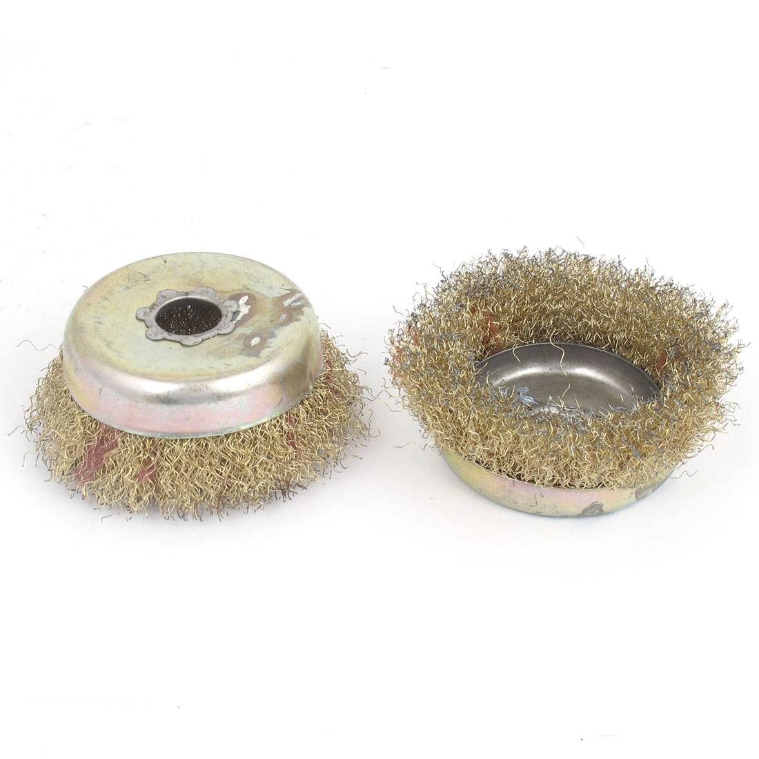 9cm Dia Copper Wire Polishing Buffing Wheels Grinding Brushes 2pcs