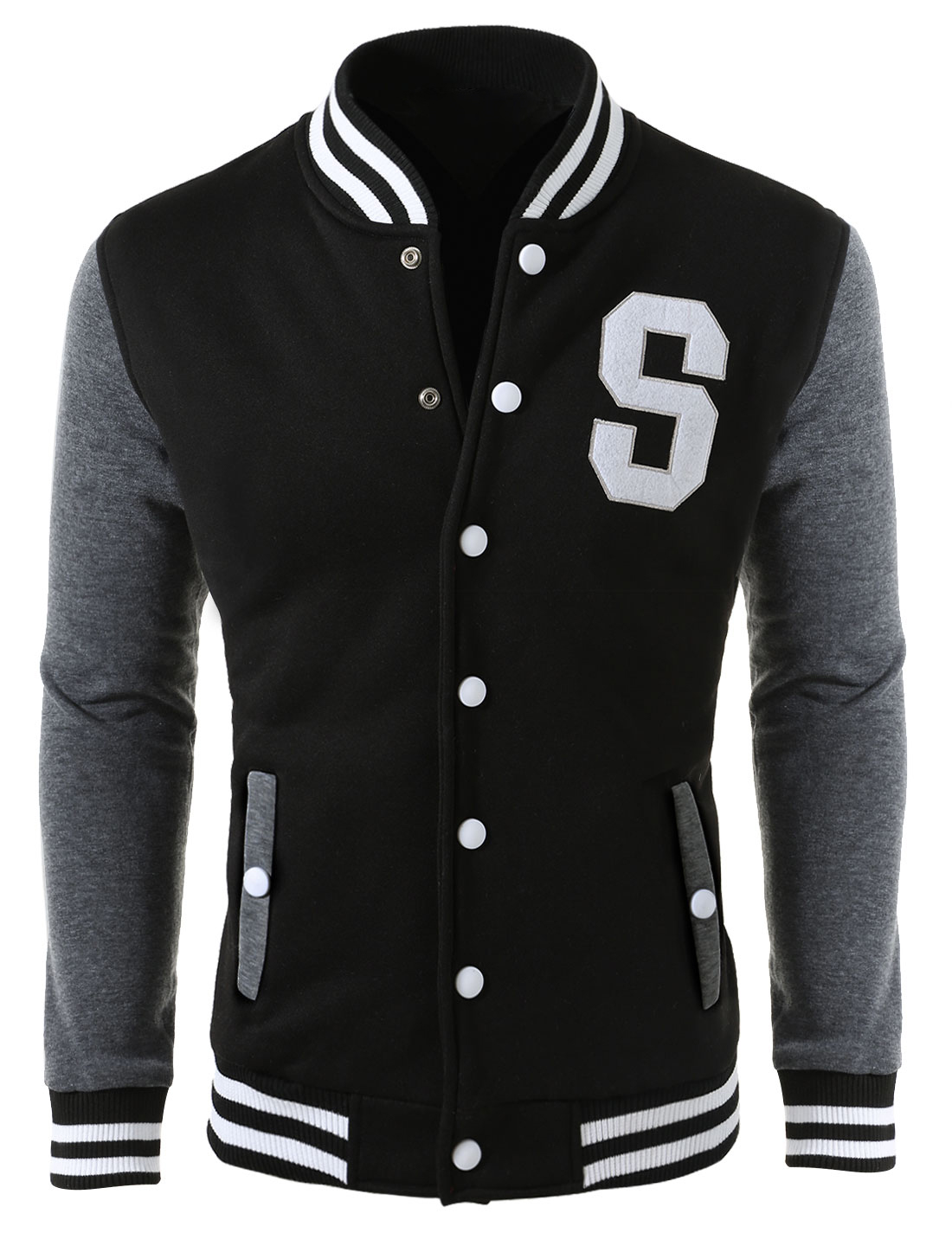 Men Stand Collar Long Sleeve Snap Buttons Letteman Jacket Black S