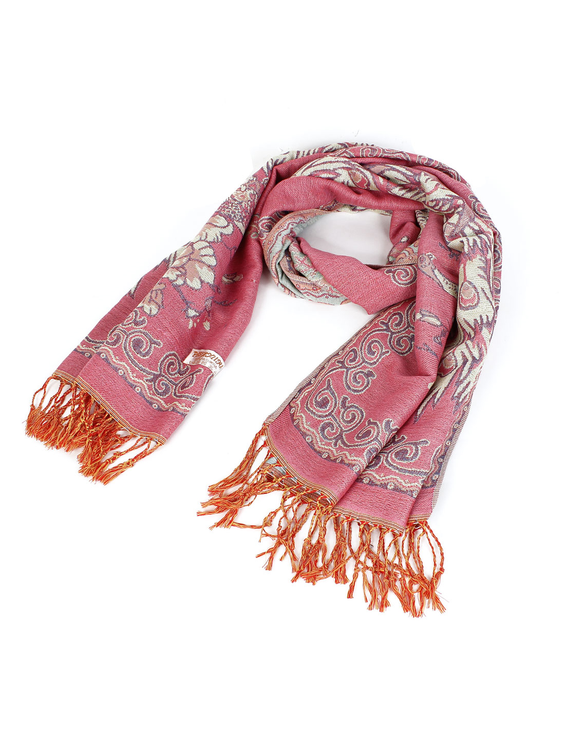 Lady Peacock Pattern Warm Tassel Shawl Scarf Neck Wrap Pink