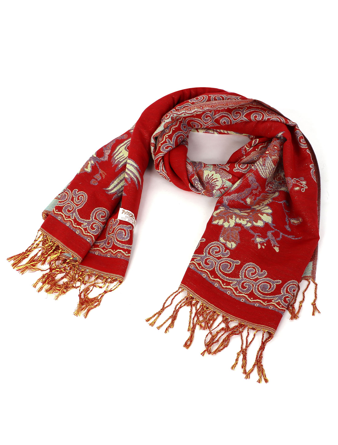 Women Ladies Fringed Winter Warm Peacock Pattern Shawl Scarf Wrap Red