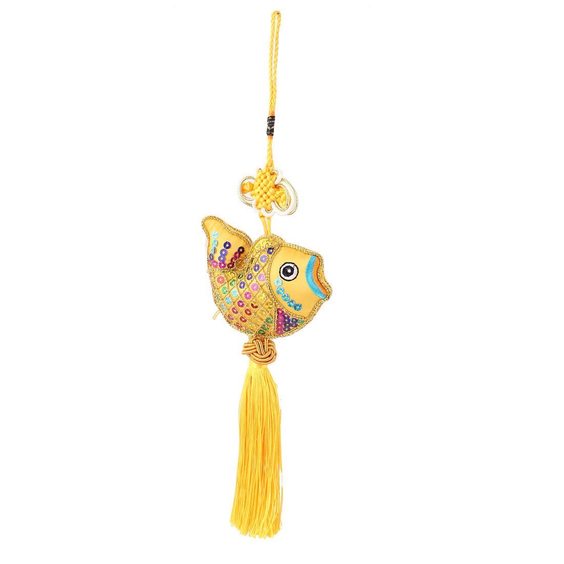 Nylon Braid Tassel Decor Chinese Knot Hanging Decoration Yellow