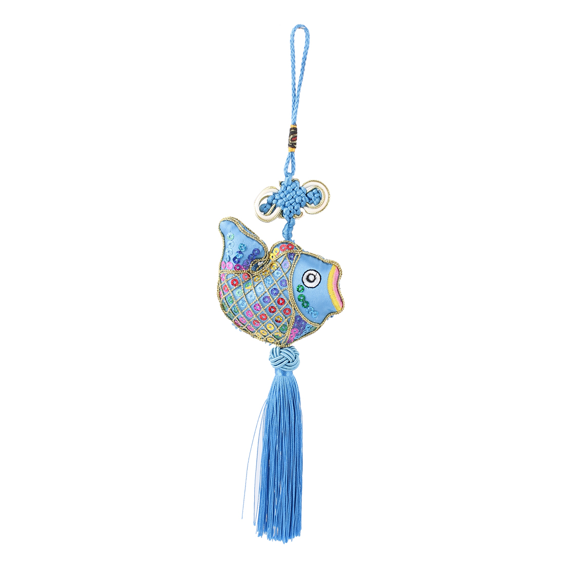 Knitted Chinese Knot Tassel Hanging Decoration Blue for Auto Car
