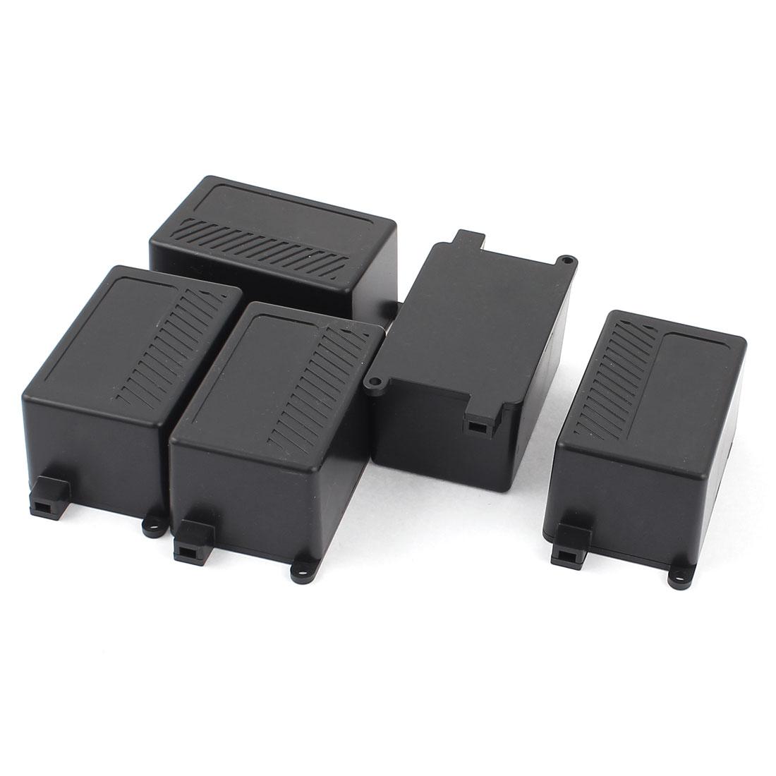 Rectangular Plastic Electric Cable Junction Box 68x43x35mm Black 5pcs
