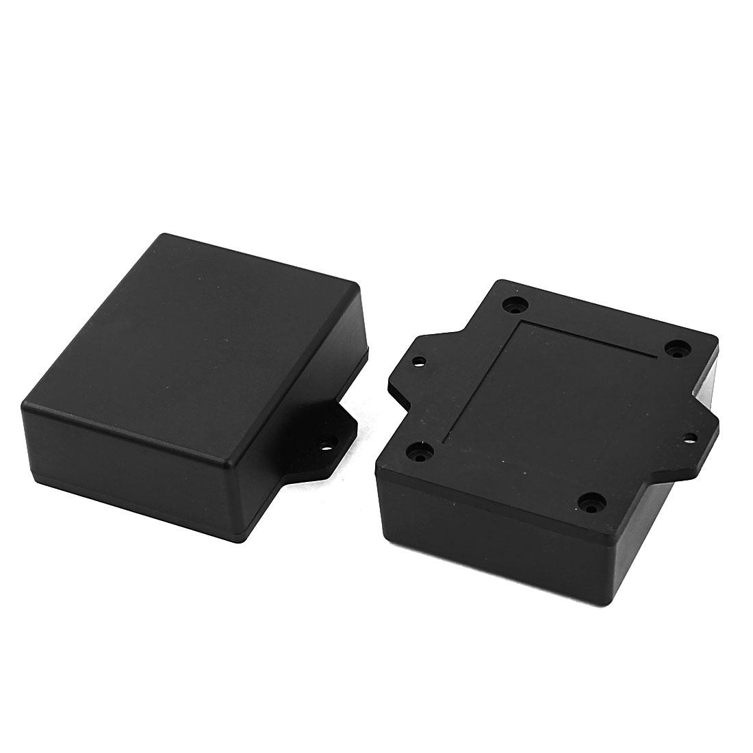 2pcs 62x50x23mm Rectangular Plastic Enclosure Case Junction Box Black