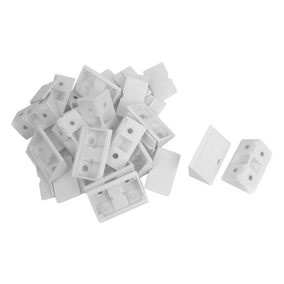 90 Degree White Plastic Furniture Closet Cabinet Corner Bracket Connectors Support 18pcs