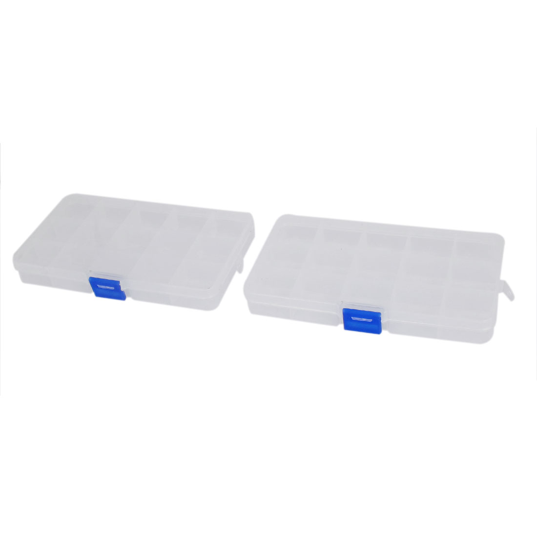 2pcs Clear White Plastic 15 Compartments Electronic Components Storage Organizer Box Case