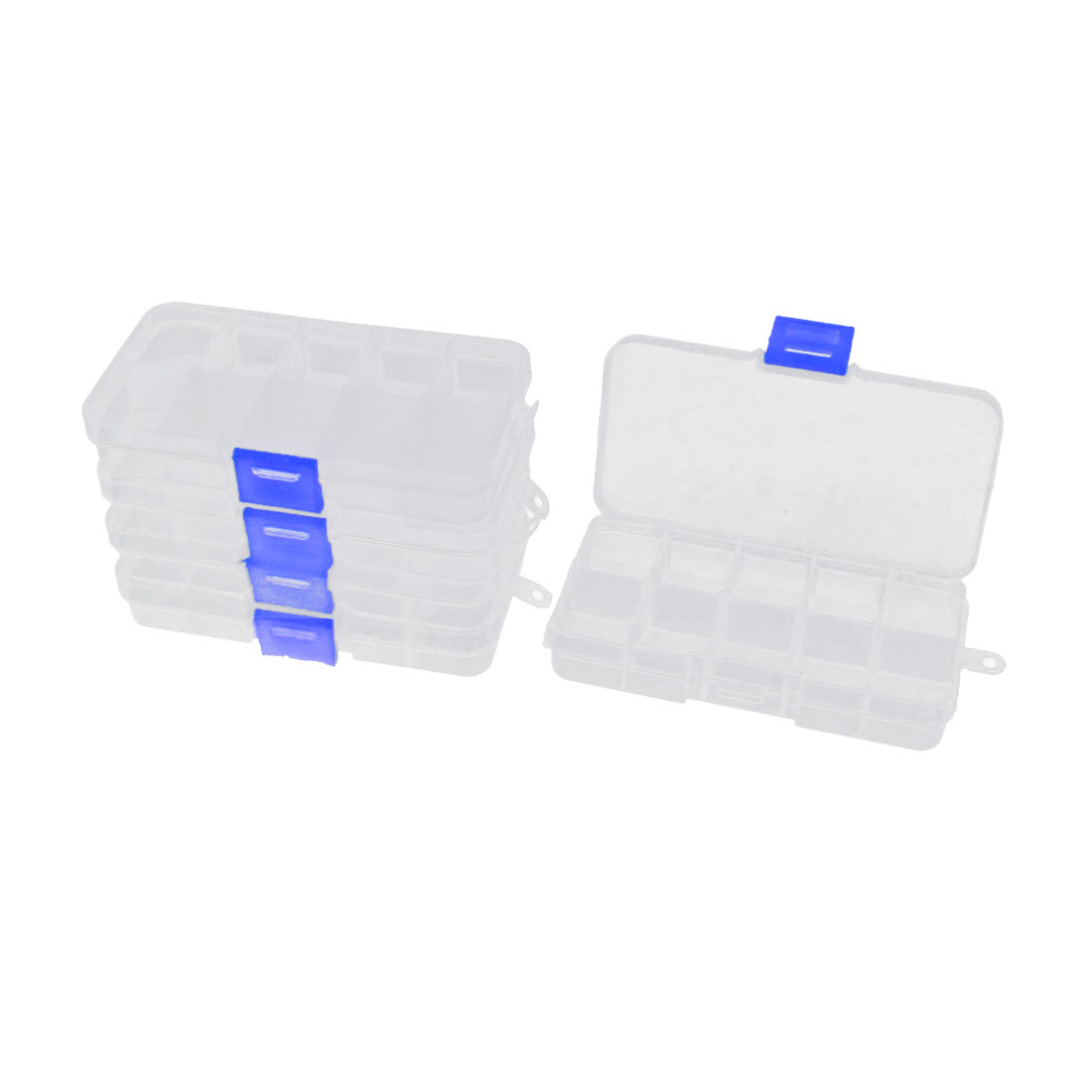 5pcs Clear White Plastic Rectangle 10 Compartments Electronic Components Storage Holder Box Case