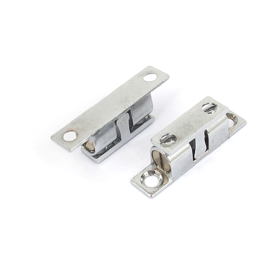 Cupboard Cabinet Door Metal Double Ball Catch Latch 40mm Length Silver Tone 2pcs