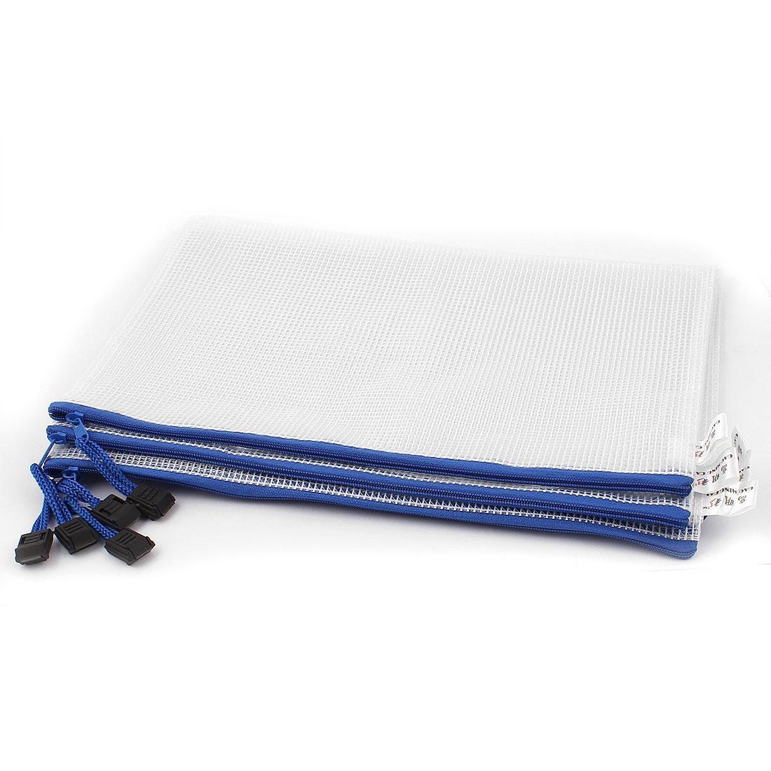Zipper Closure B5 Paper Document Protective File Bags Storage Folder 5pcs