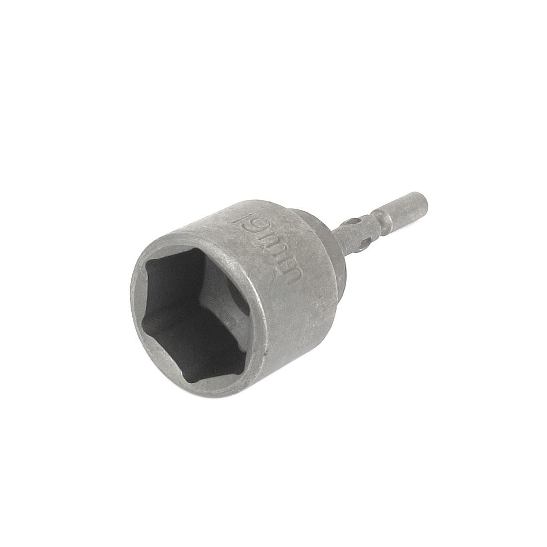 5mm Round Shank 19mm Hex Socket Spanner Nut Setter Driver Bit Power Drill Tool