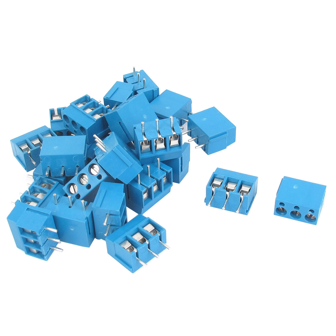 25pcs AC 300V 16A 3 Poles 5mm Pitch PCB Mount Screw Terminal Block Connector for AWG14-22 Cable