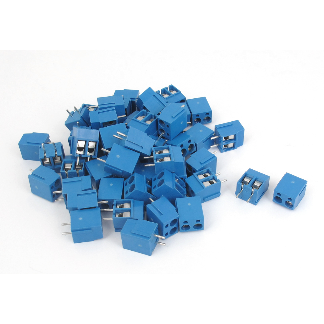50pcs AC 300V 16A 2 Poles 5mm Spacing Pluggable PCB Screw Terminal Block for AWG14-22 Cable