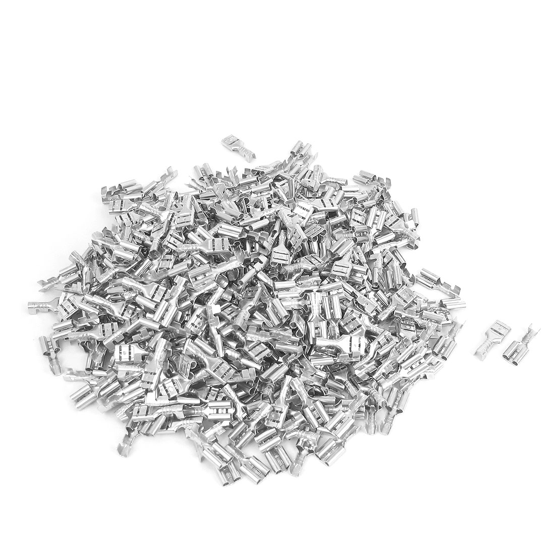 1000pcs Silver Tone Metal Female Spade Crimp Terminals Electrical Wire Connector 4.8mm