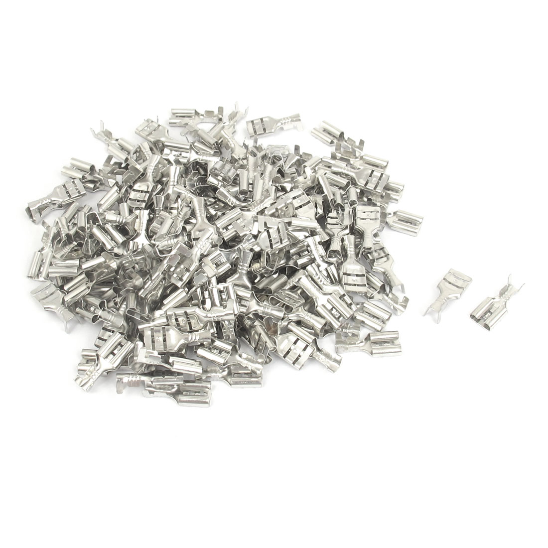 Car Speaker 6.3mm Female Spade Terminal Wire Connector Silver Tone 200pcs