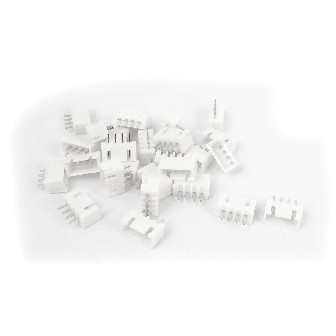 27pcs Single Row 4 Terminal 2.54mm Pitch Straight DIP Female Pin Header Socket Connector White