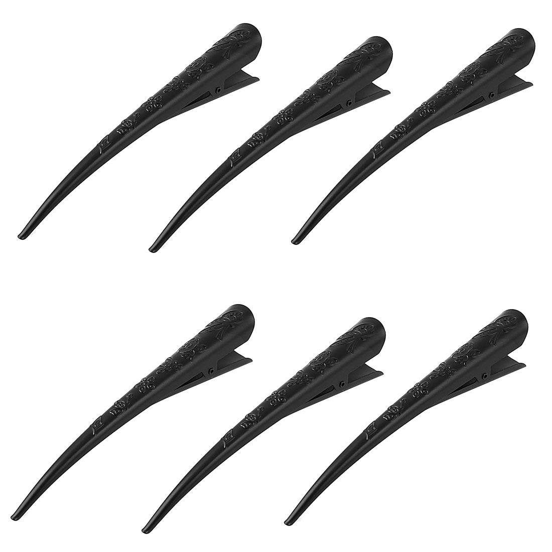 Lady Metal Flower Pattern Hairstyle Alligator Hair Clip Pin Barrette Black 6 Pcs
