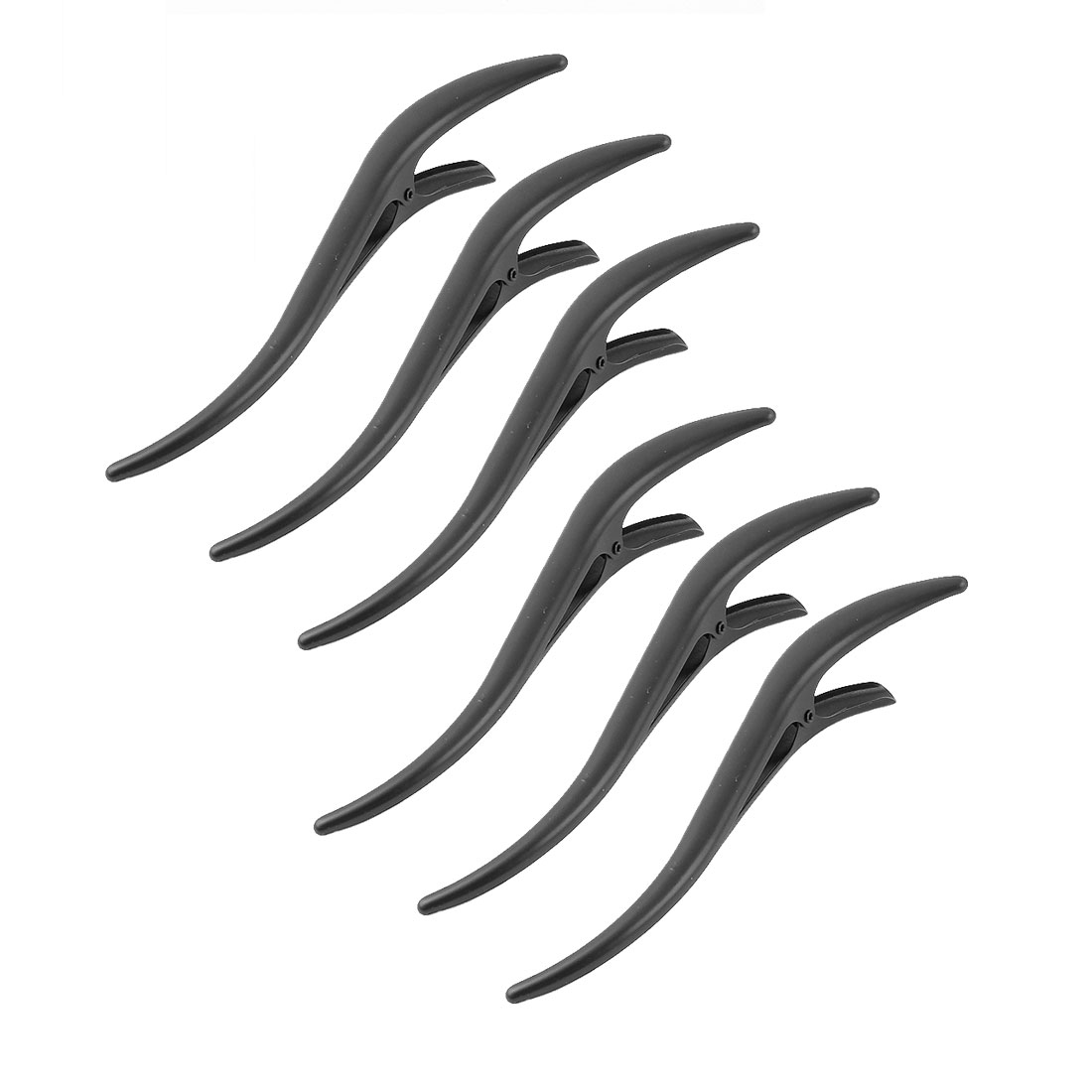 Lady Metal Single Wave Shaped Hairstyle Alligator Hair Clip Barrette Black 6Pcs