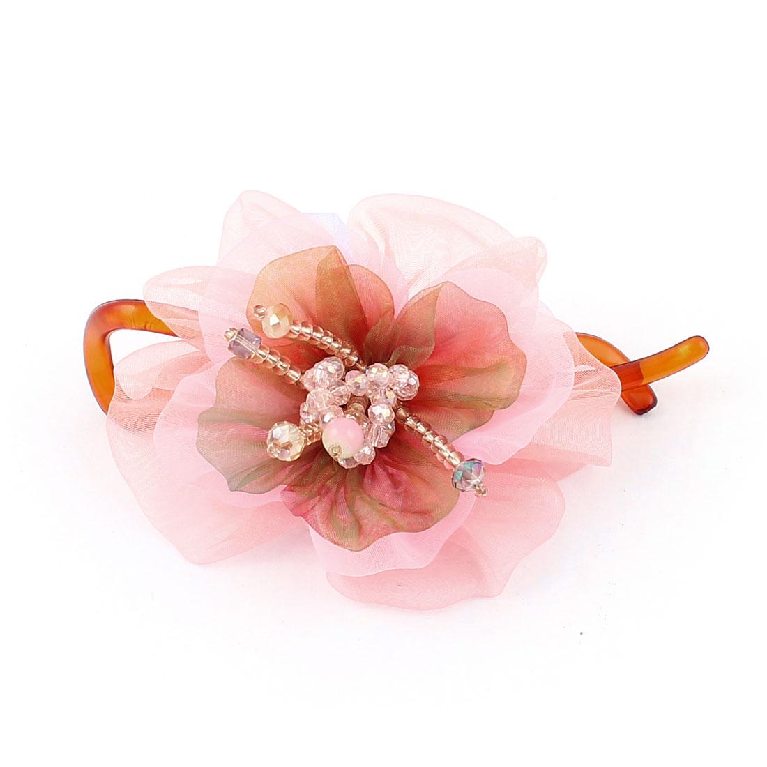 Flower Faux Rhinestone Bead Decor Twisted Banana Hair Barrette Clip Claw Pink