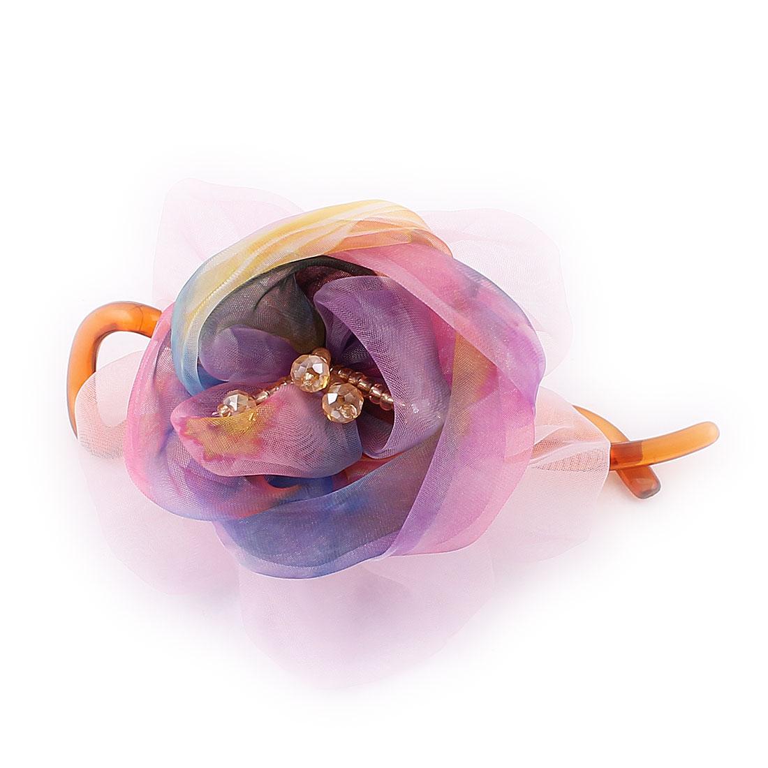 Faux Rhinestone Bead Decor Flower Twisted Banana Hair Clip Claw Light Purple