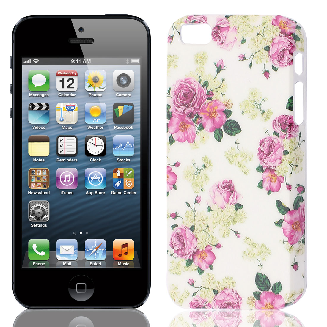 Plastic Flower Pattern Cell Phone Back Case Cover Guard Shield for iphone 5G
