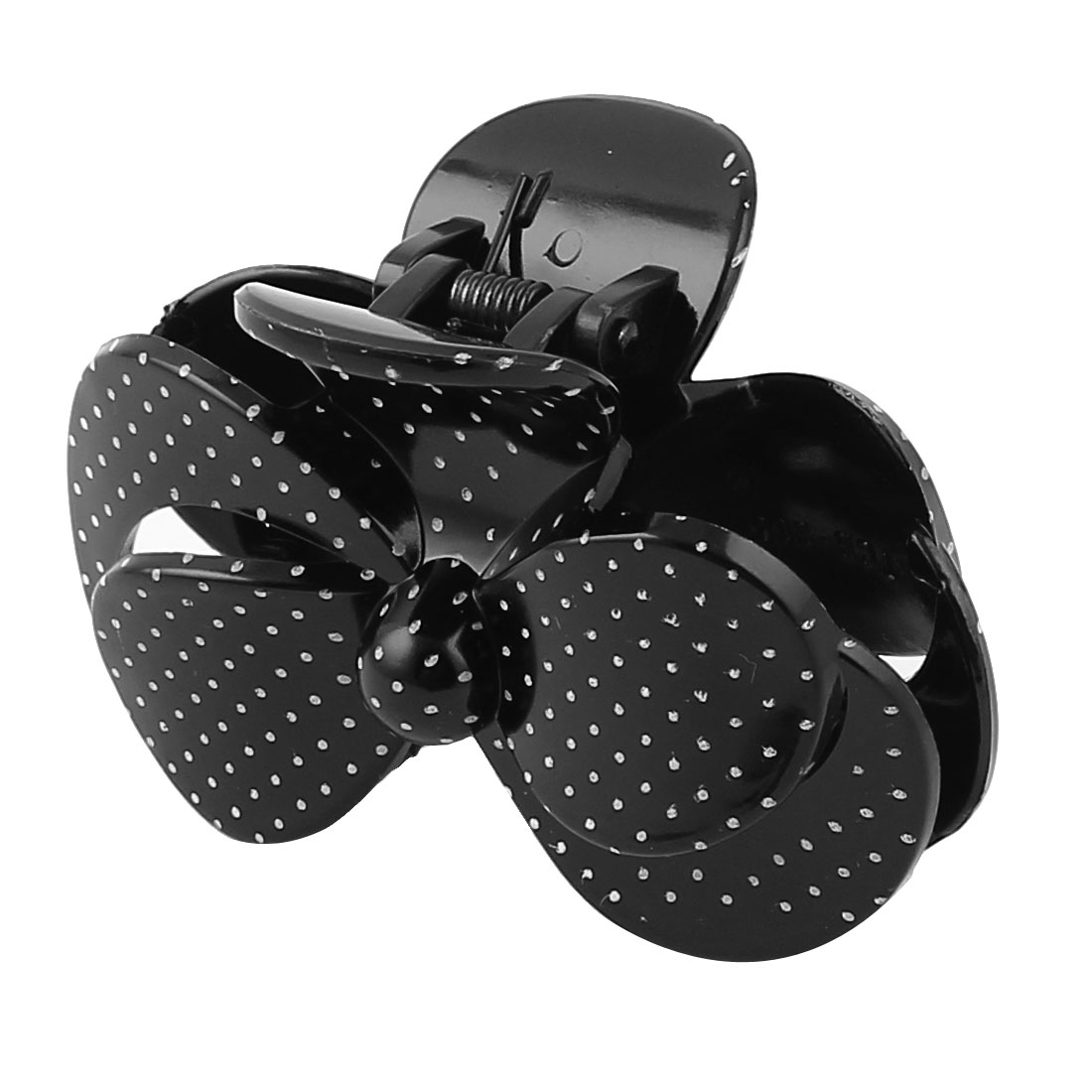 Lady Woman Bowknot Shaped Dot Pattern Hair Claw Clip Clamp Barrette Black