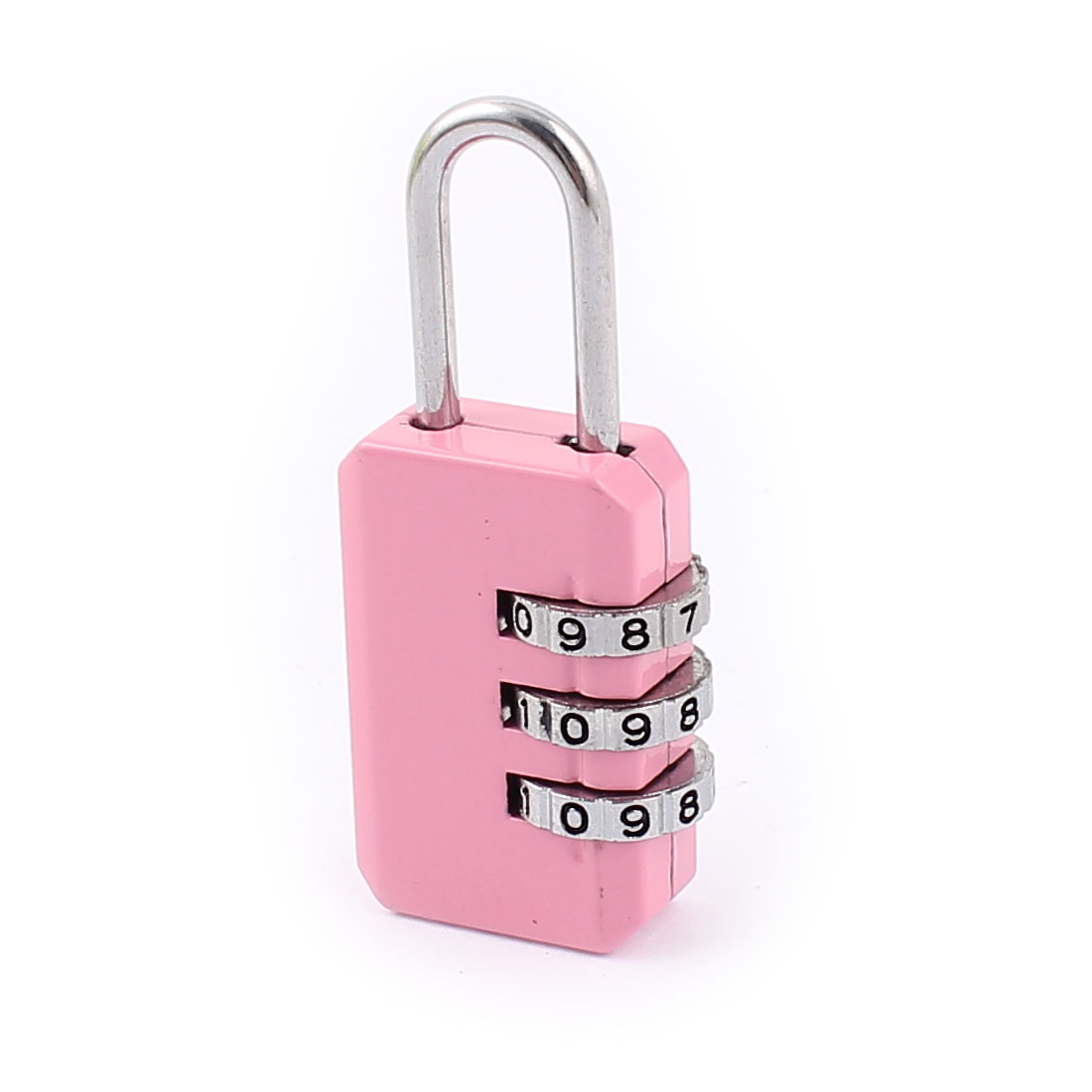 Metal Code Suitcase Luggage 3 Dial Digit Combination Password Lock Padlock Pink
