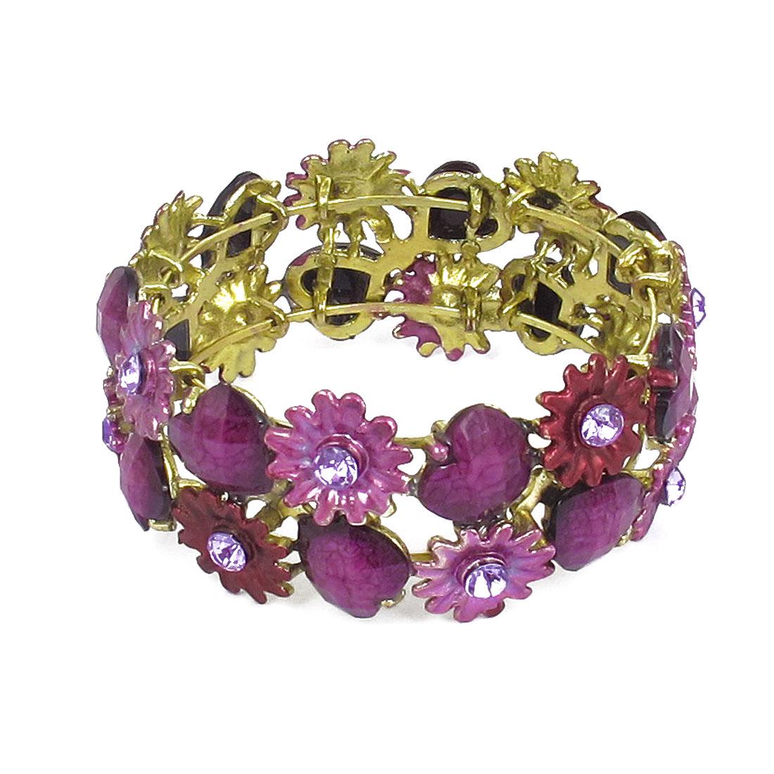 Purple Plastic Rhinestone Detailing Wrist Bracelet Bangle Ornament for Women