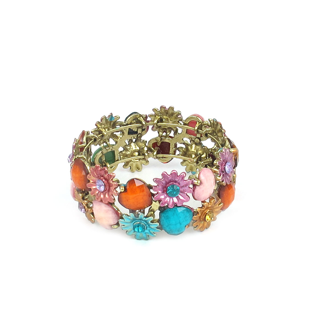Wedding Party Plastic Rhinestone Inlay Flower Design Wrist Bracelet Bangle Ornament