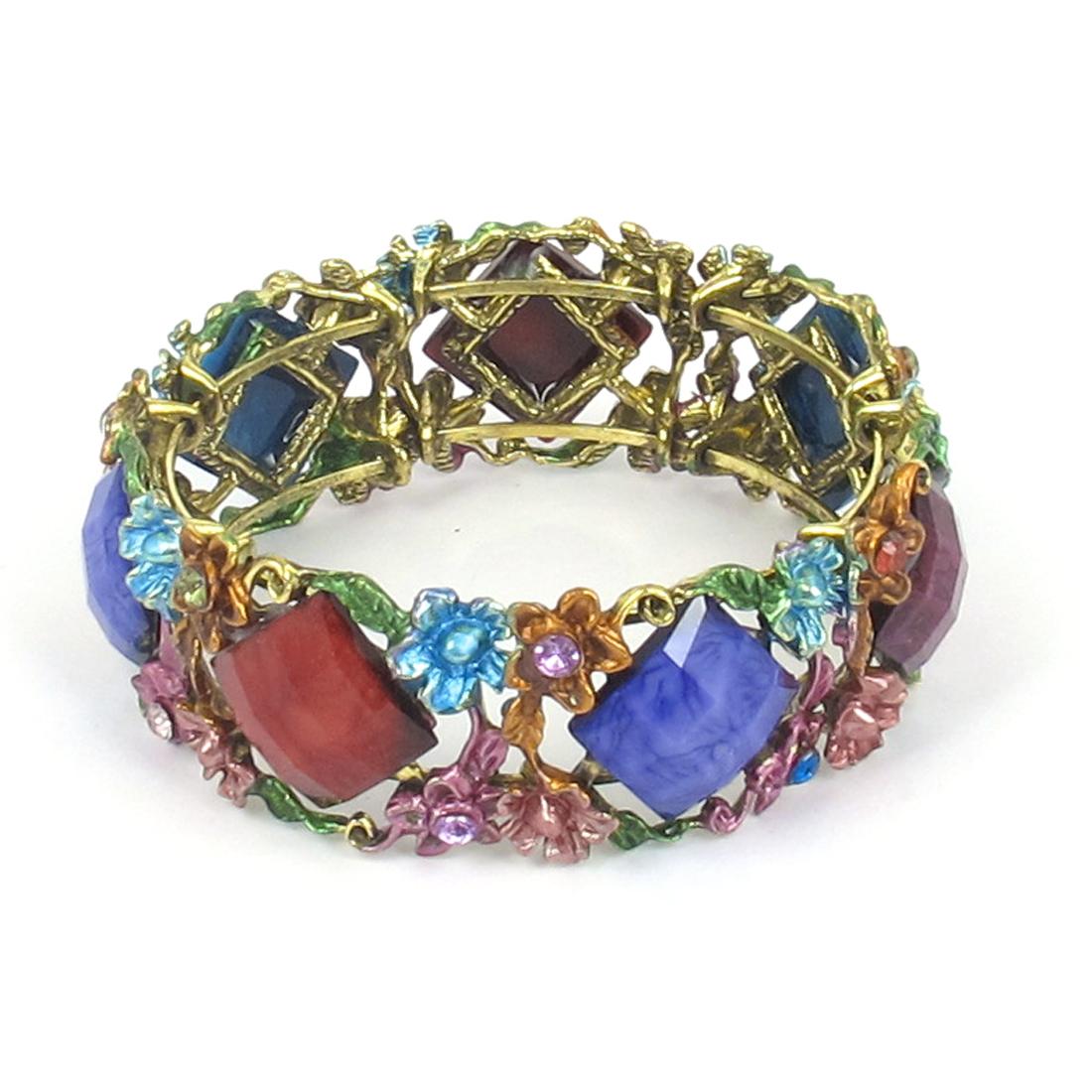 Lady Wedding Party Metal Flower Detailing Wrist Bracelet Bangle Ornament Multicolor