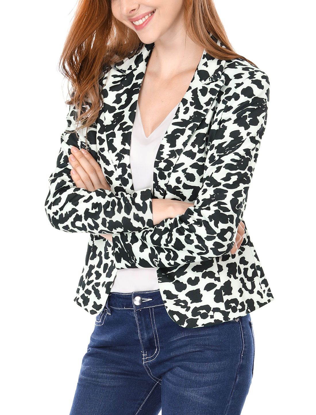 Woman Leopard Prints One-Button Placket Peaked Lapel Blazer White XL