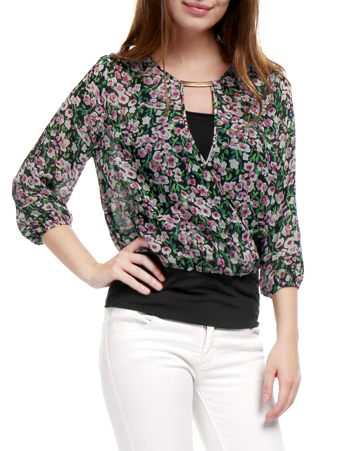 Woman Floral Prints Crossover Front Layered Design Round Neck Top Green L