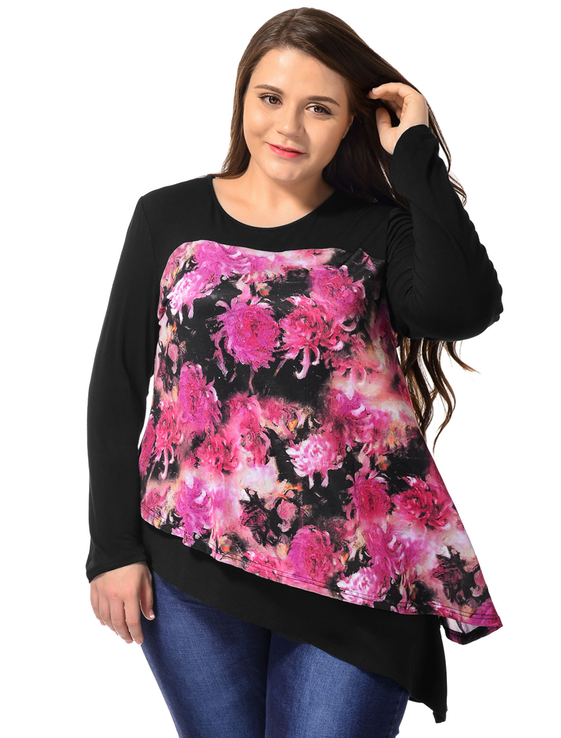 Women Plus Size Floral Prints Irregular Hem Tiered Top Black 2X