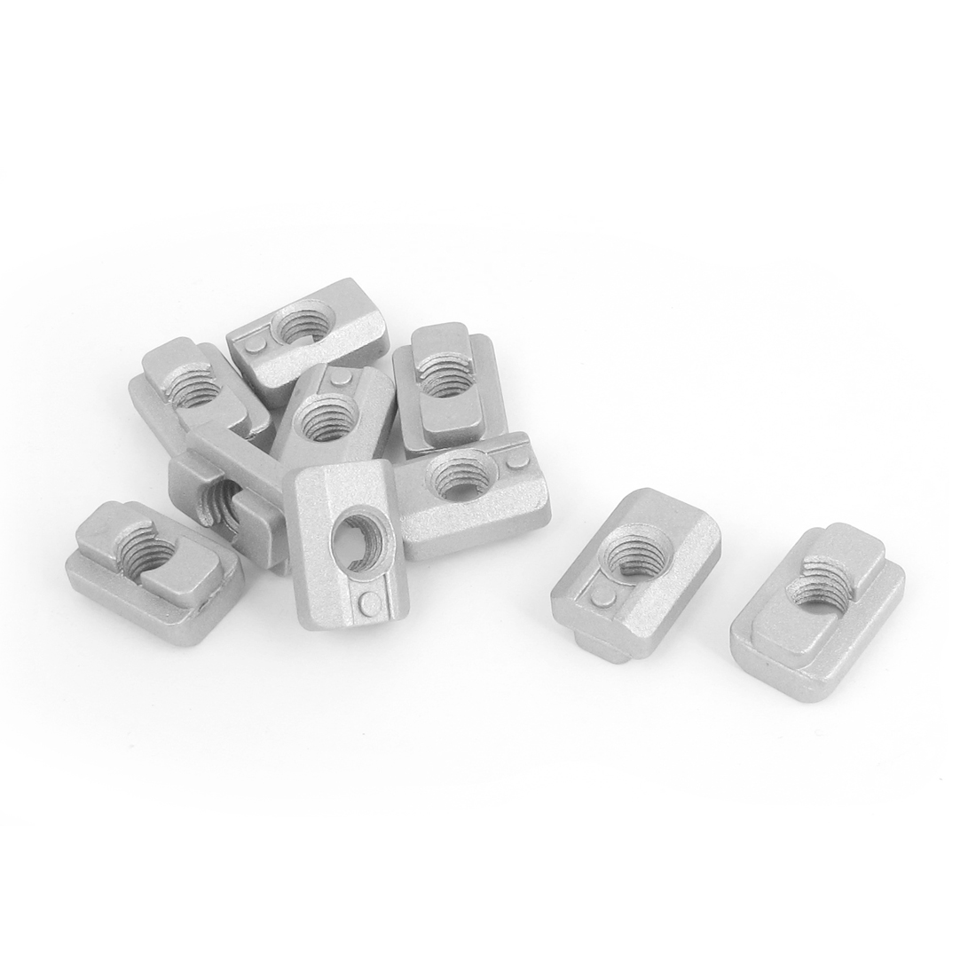 M8 40 Series Aluminum Slide In T-slot Table Slot T-Nut Silver Tone 10pcs