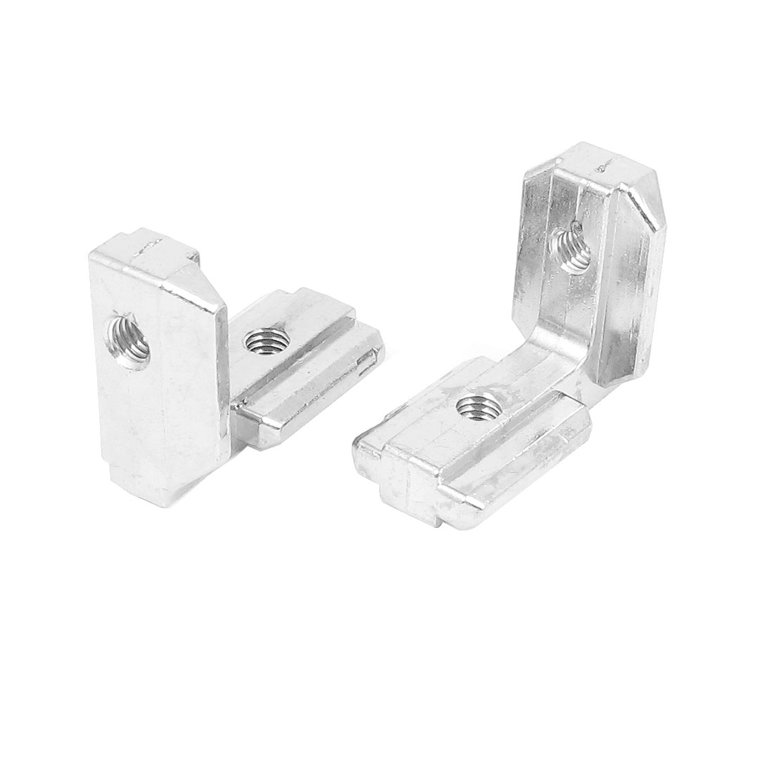 2pcs Silver Tone T Slot 90 Degree Stainless Steel Corner Connector 38mm x 32mmx 19mm