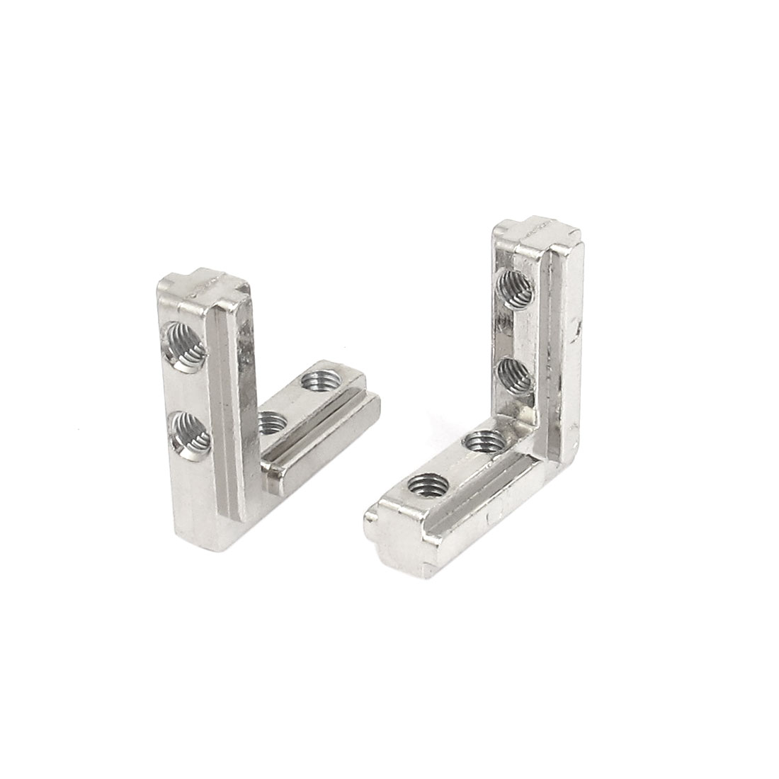 2pcs Silver Tone T Slot 90 Degree Stainless Steel Corner Connector 30mm x 30mm x 10mm