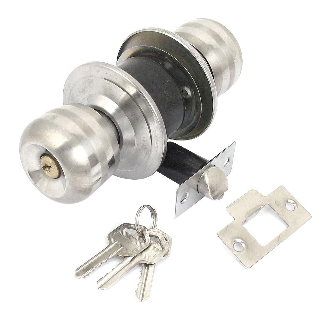 Home Office Door Cylinder Deadbolts Ball Knob Locking Latch Silver Tone w 3 Keys