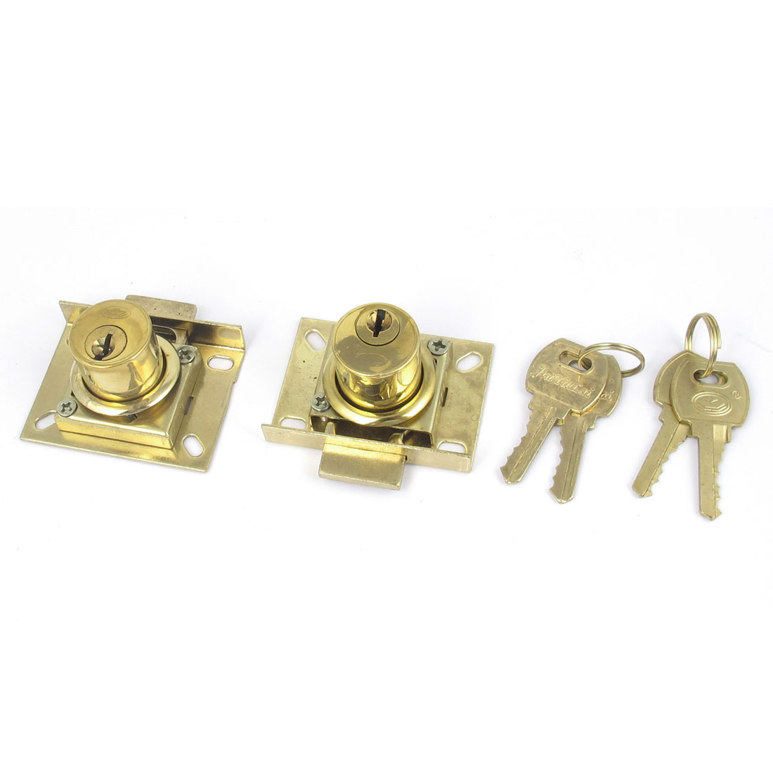 Cabinet Cupboard Mailbox Drawer Door Security Lock Gold Tone 2pcs w 4 Keys
