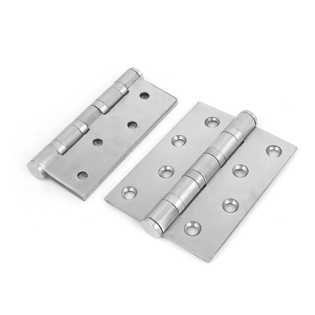 "2pcs Cupboard Cabinet 304 Stainless Steel Folding Door Butt Hinges 4"" x 3"" x 3mm"