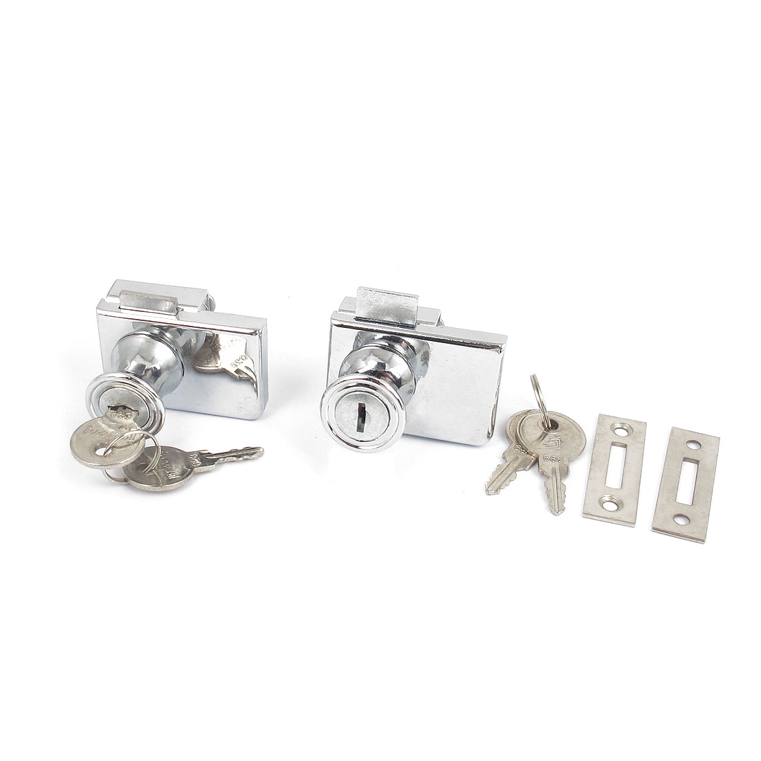 Silver Tone Office Shop Showcase Glass Door Security Lock Fitting 10mm Thickness 2pcs w Keys