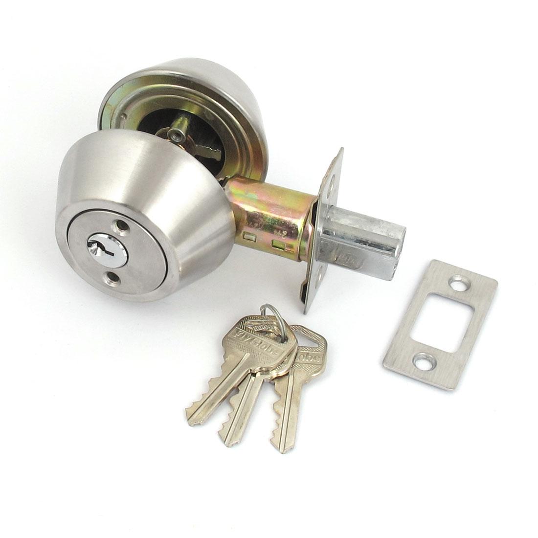 Home Office Door Cylinder Deadbolt Metal Lock Hardware Silver Tone w Keys